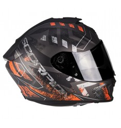 CASCO SCORPION EXO-1400 PICTA GRIS/NARANJA MATE
